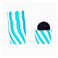 aqua striped cupcake wrappers