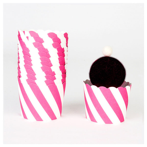 Pink Diagonal Stripes - Baking Cups
