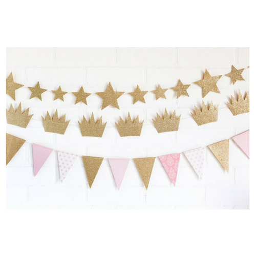 PINK & GOLD PENNANT BANNER