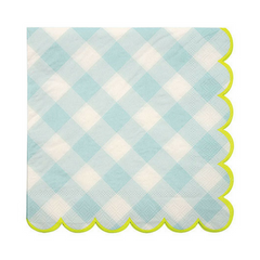 blue gingham large paper party napkins
