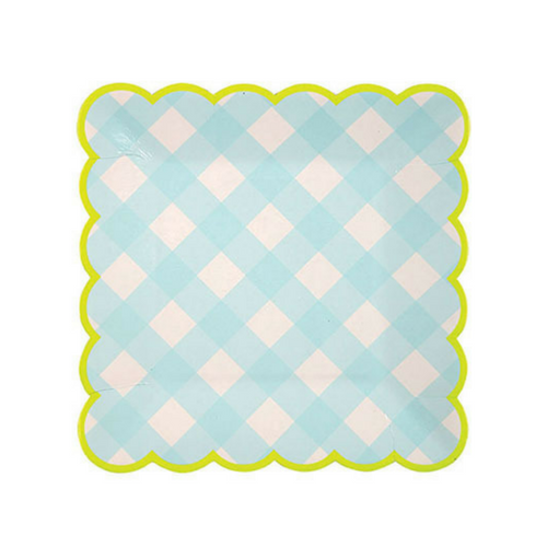blue gingham small paper party plates