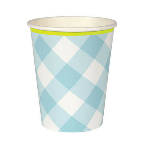 blue gingham party paper cups