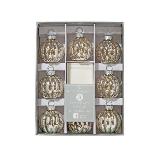 Silver Bauble Place Card Holders
