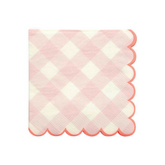 small pink gingham paper party napkins