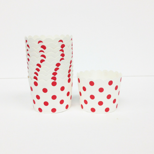 White with Red Polka Dots Baking Cups