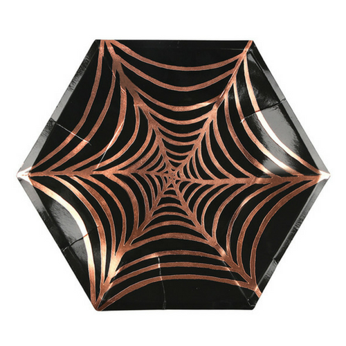 Rose Gold Foil Cobweb Plates Large