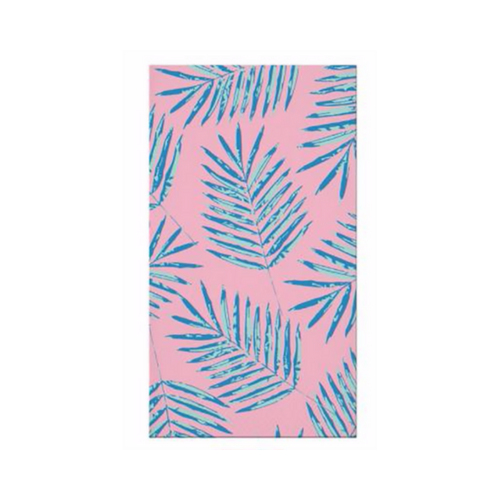 pink and blue palm leaves