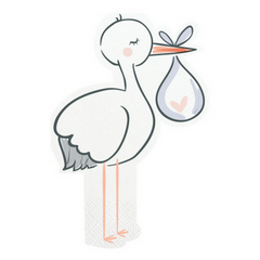 die cut stork baby shower napkins