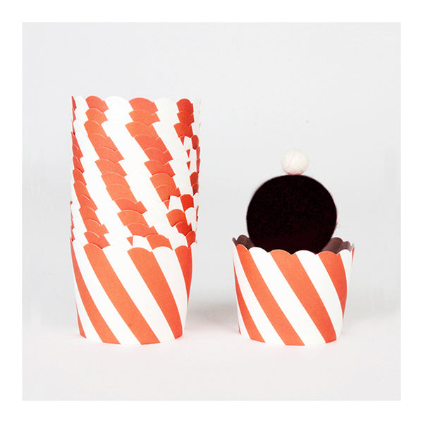 Orange Diagonal Stripes - Baking Cups