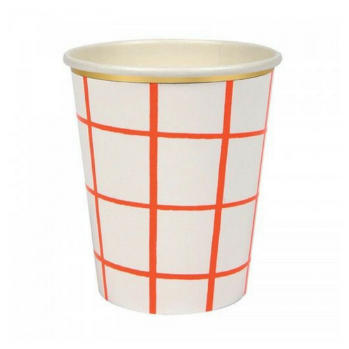 Coral Grid 9 oz Cups