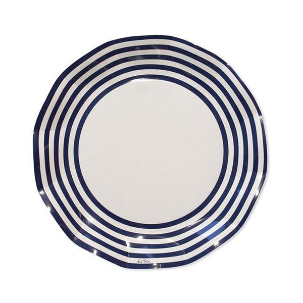 Navy Striped Ruffled Plates