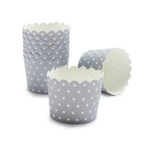 Grey with White Polka Dots Baking Cups