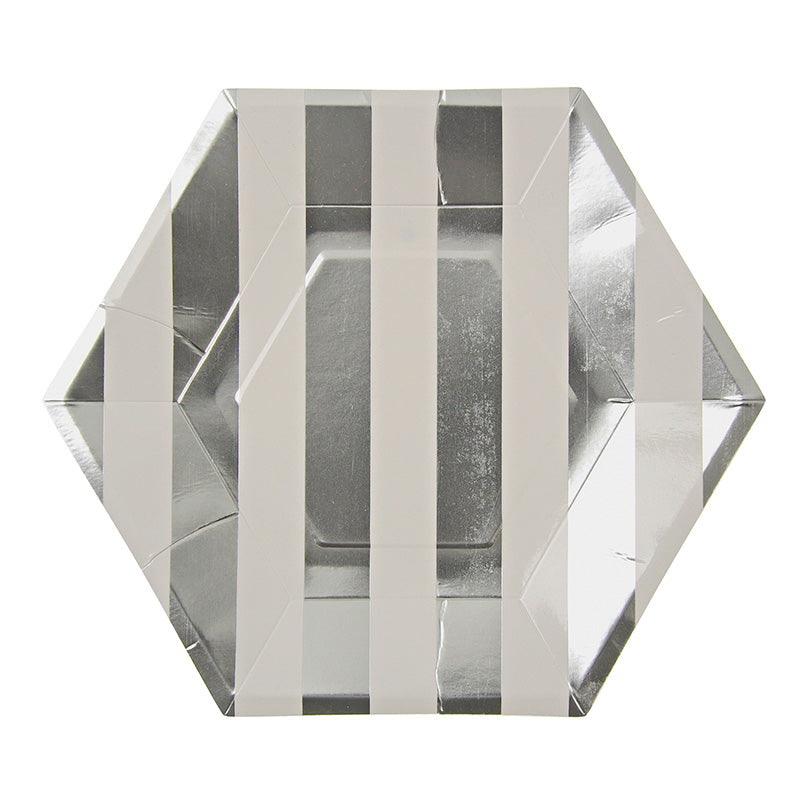 silver foil striped hexagon plates
