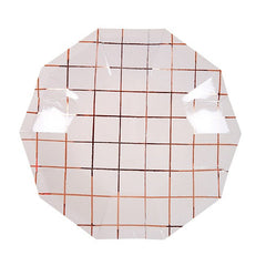 Rose Gold Grid Pattern Plates