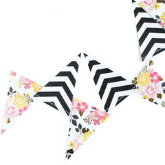 floral and striped pennant banner