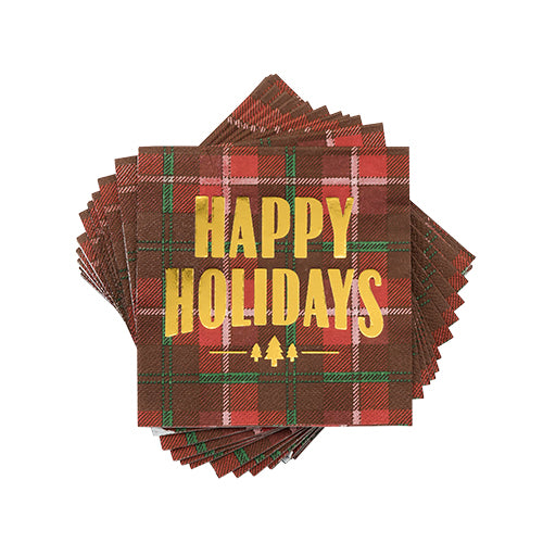 """Happy Holidays"" Plaid Cocktail Napkins"