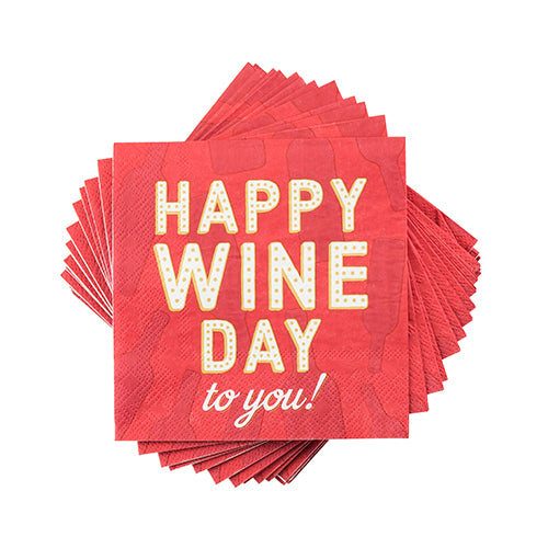 """Happy wine Day To You"" Cocktail Napkin"