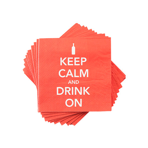 """Keep Calm and Drink On"" Cocktail Napkin"