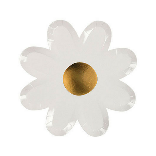 die cut white daisy paper party plates