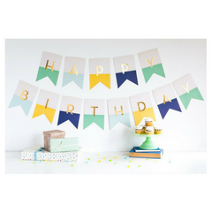 Hip Hip Hooray Letter Banner Blue