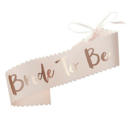 pink and rose gold bride to be sash