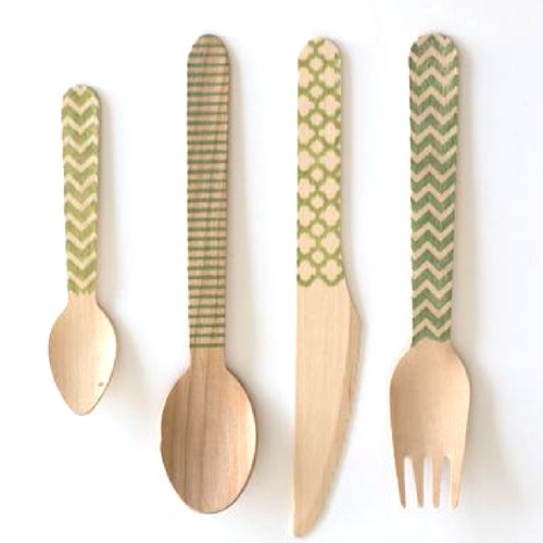 Green Stamped Cutlery