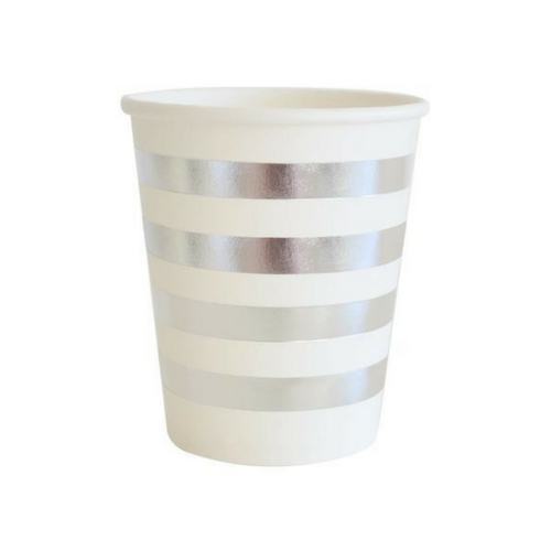 Silver Foiled Stripe Cups