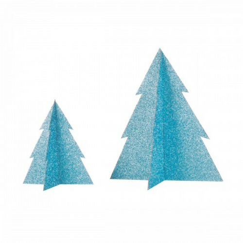 blue glitter christmas trees