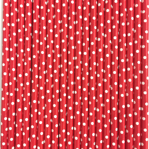 Red with White Polka Dots Paper Straws