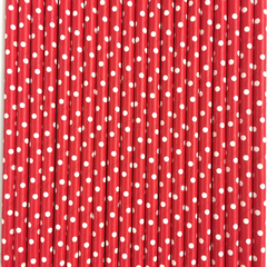 Red with White Polka Dots Paper Straws -Set of 25