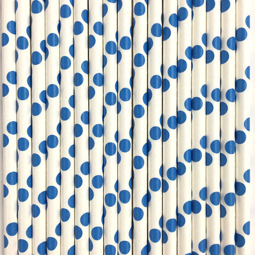 White with Dark Blue Polka Dots Paper Straws