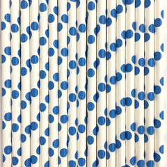 White with Dark Blue Polka Dots Paper Straws -Set of 25