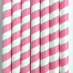 Pink Jumbo Paper Straws - Set of 10