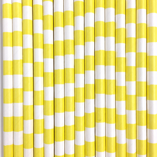 Yellow Rugby Striped Paper Straws -Set of 25