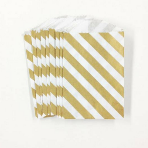 Gold Diagonal Stripe Mini Treat Bags