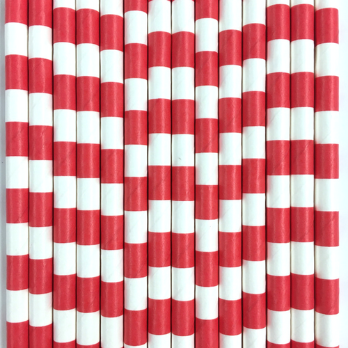Red Rugby Striped Paper Straws -Set of 25