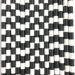 Black Rugby Striped Paper Straws -Set of 25