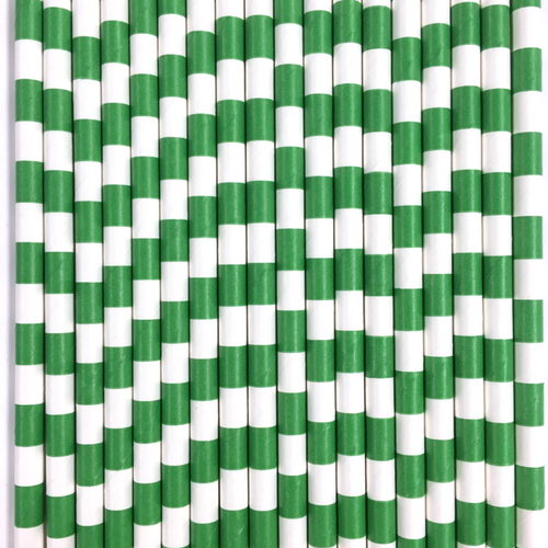 Green Rugby Striped Paper Straws -Set of 25