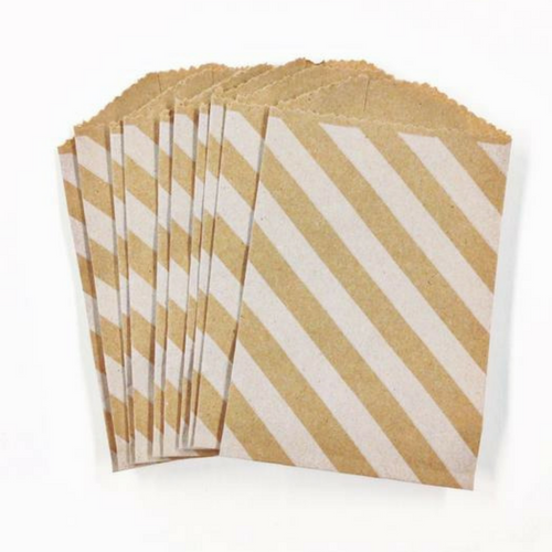 Kraft Paper Diagonal Stripe Mini Treat Bags