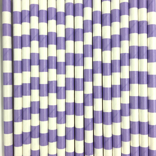 Lavender Rugby Striped Paper Straws -Set of 25