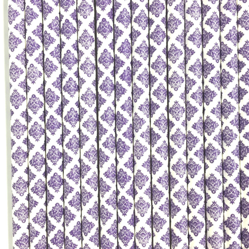 Purple Damask Paper Straws -Set of 25