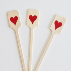 Wood Drink Stirrers - Red Foil Hearts