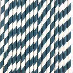 Navy Blue Striped Paper Straws -Set of 25
