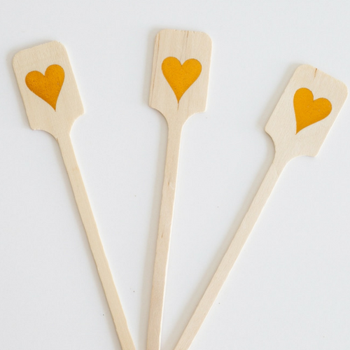 Wood Drink Stirrers - Orange Foil Hearts