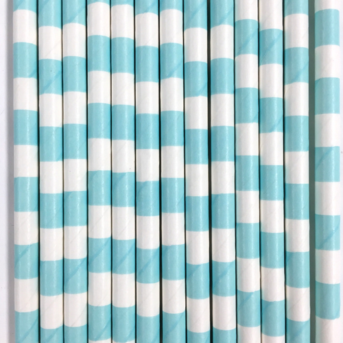 Light Blue Rugby Striped Paper Straws -Set of 25