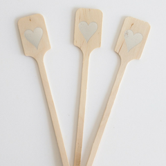 Wood Drink Stirrers - Silver Hearts
