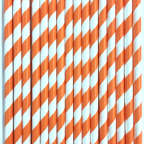 Orange Striped Paper Straws -Set of 25