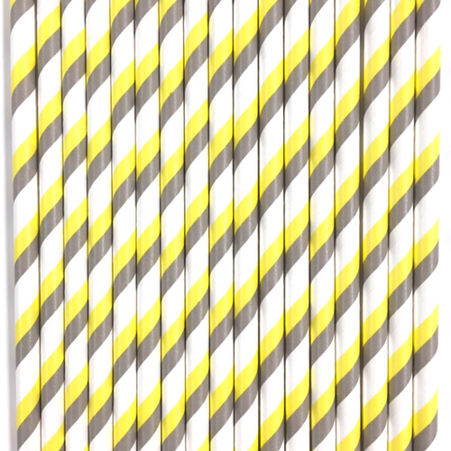 Two-Toned Yellow & Silver Striped Paper Straws -Set of 25