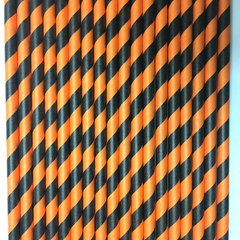 Black and Orange Striped Paper Straws -Set of 25