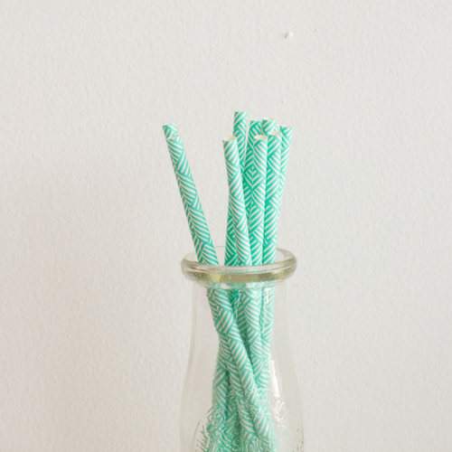 Blue Weave Design Paper Straws